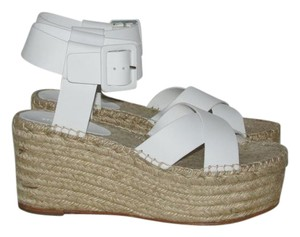 Céline Optic White Leather Wedges