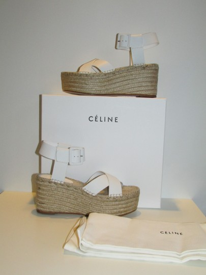 Céline Optic White Leather Wedges Image 1
