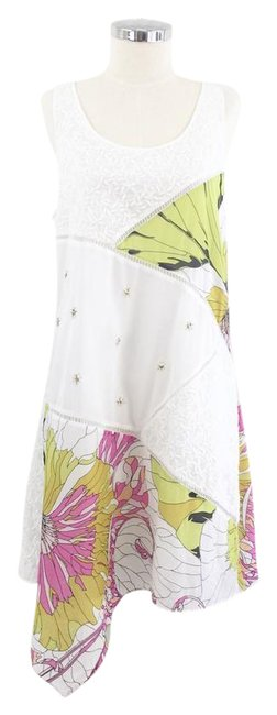 Item - White Patchwork Floral Embroidered Short Casual Dress Size 10 (M)