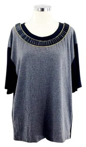 Tracy Reese Pleated Faux Leather Gold Hardware T Shirt grey