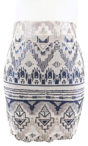 Capulet Sequin Tribal Mini Skirt blue