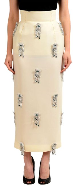 Item - Cream White Women's Brooches Decorated Pencil Skirt Size 2 (XS, 26)