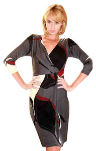FLORA KUNG Abstract 3/4 Sleeve Wrap Monochrome Color-blocking Dress