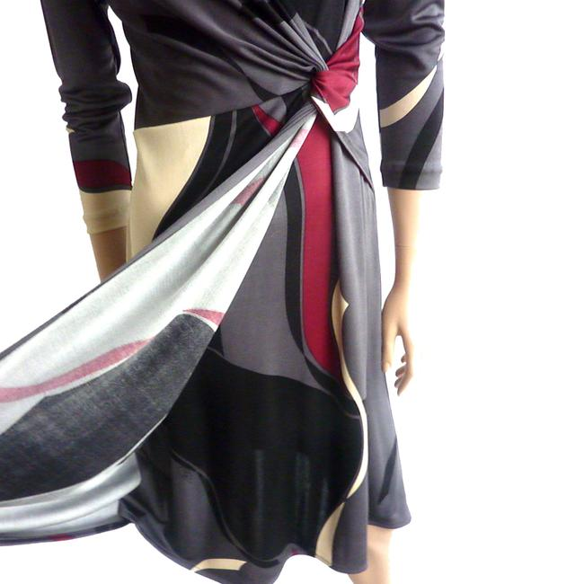 FLORA KUNG Abstract 3/4 Sleeve Wrap Monochrome Color-blocking Dress Image 2