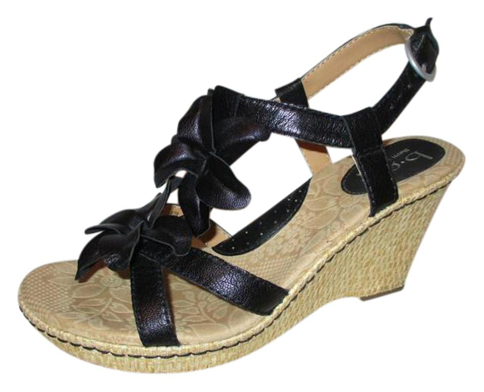 9ad68db0076b B.O.C. Black Born Concepts Leather Floral Wedge Sandals Size US 8 ...