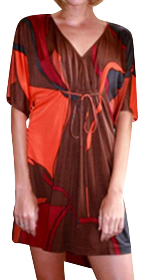 6fd6e6ad3497b FLORA KUNG Orange Bronze Abstract Print Silk Jersey Knit Cropped Kimono  Casual Dress