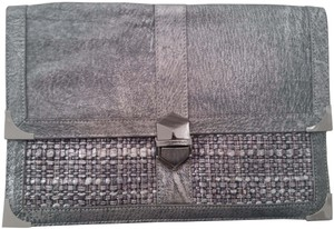 Rebecca Minkoff Graphite Leather Distressed Leather Edgy Gray Clutch
