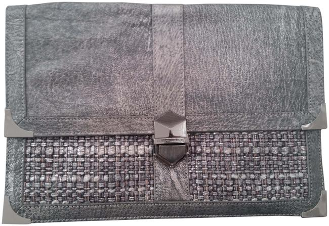 Item - W Graphite W/ Metallic Silver Tweed Accents Gray Leather Clutch