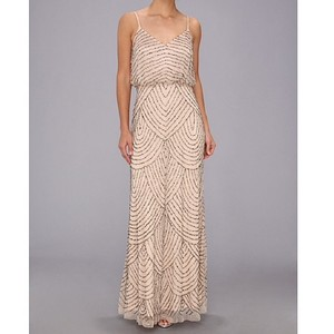 Adrianna Papell Taupe/Pink Beaded Blouson Gown Formal Bridesmaid/Mob Dress Size 4 (S)