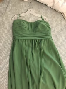 Priscilla of Boston Spring Green/Light Clover Chiffon Strapless V-back Knee Length Modern Bridesmaid/Mob Dress Size 14 (L)