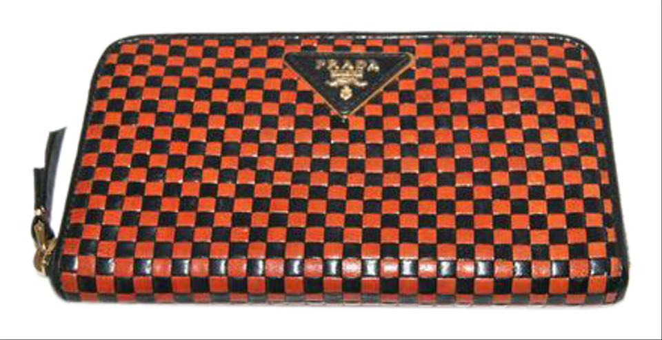 b3c96a55d2 Prada Madras Woven Black Brown Leather Clutch - Tradesy