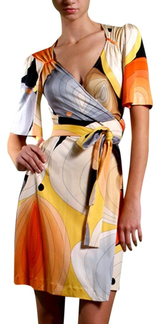 Preload https://img-static.tradesy.com/item/21712957/flora-kung-orange-beige-seashell-print-silk-jersey-knit-true-wrap-mid-length-cocktail-dress-size-14-0-1-650-650.jpg