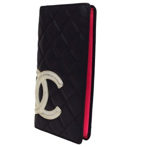 Chanel Cambon Long Quilted Bifold Wallet Purse Leather Black Pink
