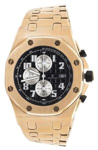 Jewelry Unlimited Jewelry Unlimited Solid Rose Gold Steel Black Dial Chronograph Watch