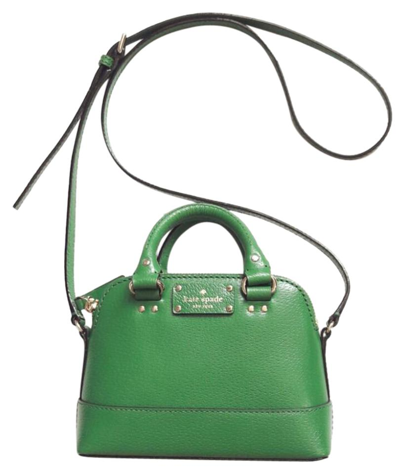 5031f5eab3f1 Kate Spade Mini Rachelle Wellesley Satchel Green Leather Cross Body ...