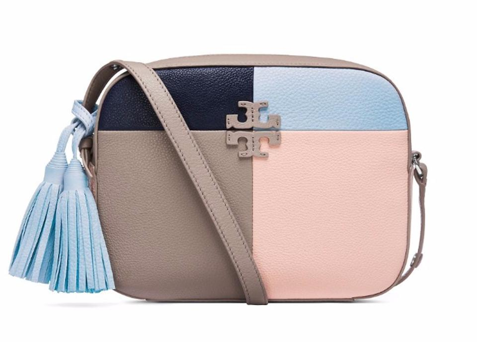 b0d41c1747160 Tory Burch Thea Patchwork Shoulder French Gray Multi Leather Cross ...