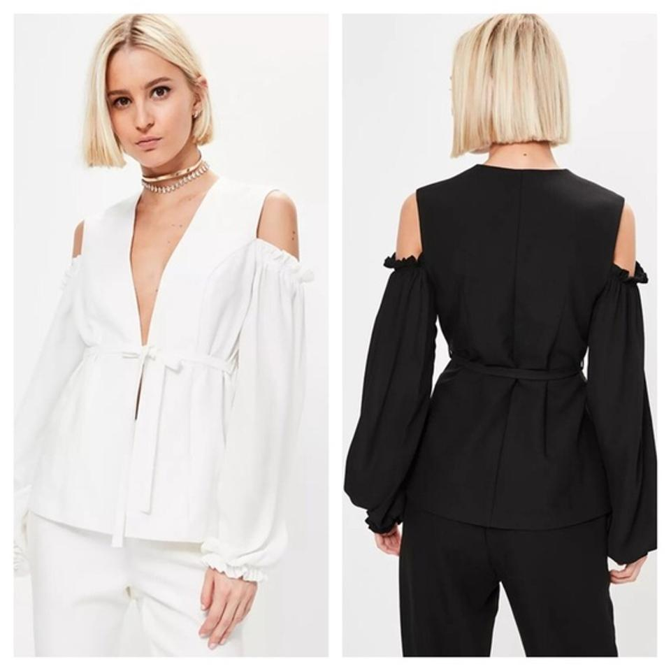 c13286dba4d56 Off White Ruffle Cold Shoulder Tie Front Da37 Blouse Size 8 (M ...