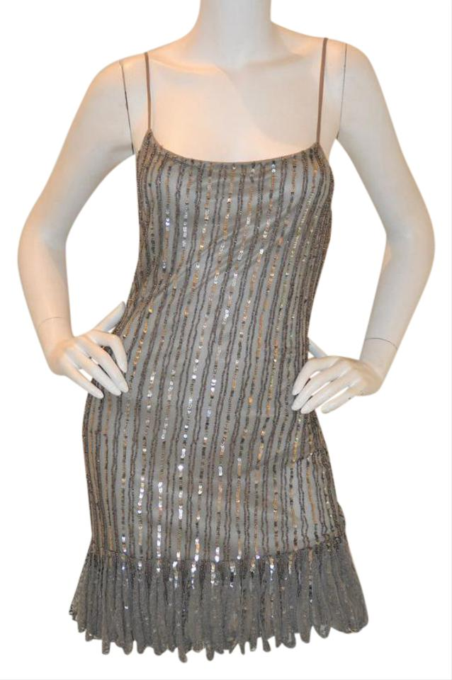 Alberto Makali Silver Sequin Short Cocktail Dress Size 10 (M) - Tradesy
