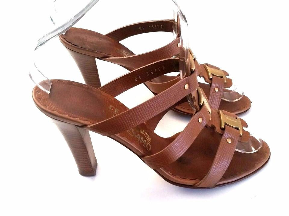 569d9edd9 Salvatore Ferragamo Brown 3 Strap Strappy Slides Heels Mule Sandals ...