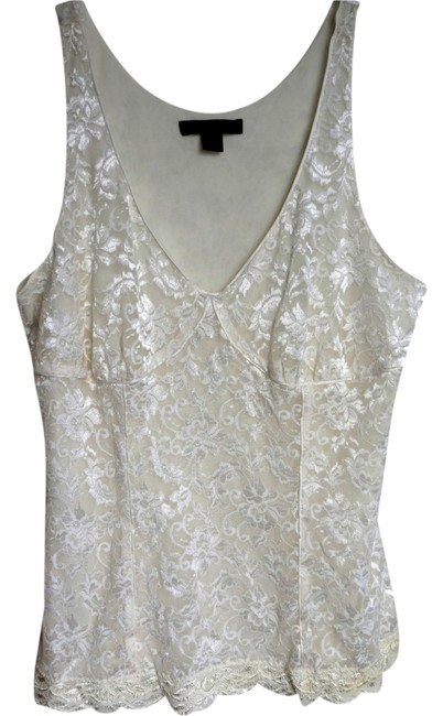 Item - Cream Detailed Lace Sleeveless Tank Top/Cami Size 12 (L)
