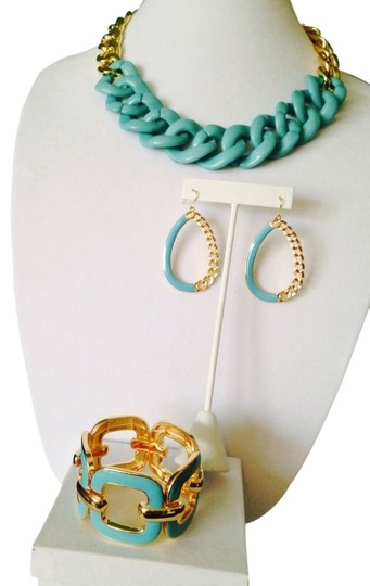 Preload https://item4.tradesy.com/images/turquoisegold-3-piece-set-enamel-and-resin-chain-set-2171388-0-0.jpg?width=440&height=440