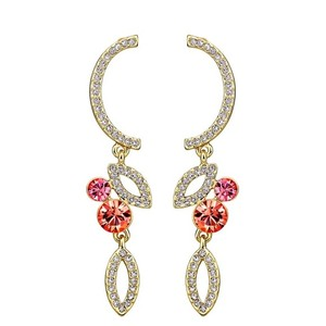 Other Swarovski Crystals Curved Coral Earrings S7