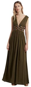 Military Green Maxi Dress by French Connection Maxi Beaded Boho Flowy Summer