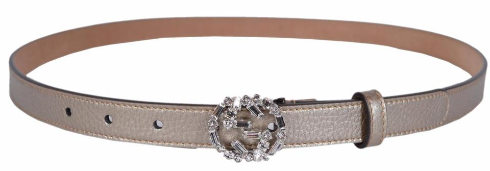 ed8e88b5c Gucci New Gucci Women's Golden Beige Leather Swarovski Crystal GG Belt 32  80 Image 7. 12345678