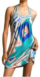 FLORA KUNG short dress Aquamarine blue print Printed Halter Self Tie Bare Back Meghan on Tradesy