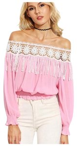 Other Off The Shoulder Fringe Top Pink