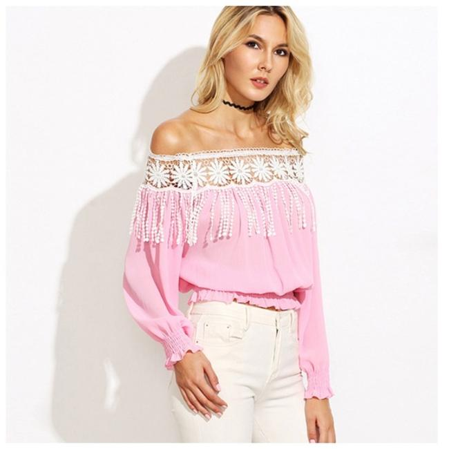 Other Off The Shoulder Fringe Top Pink Image 1