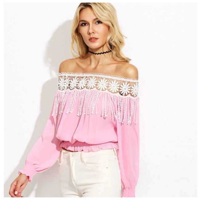 Other Off The Shoulder Fringe Top Pink Image 2