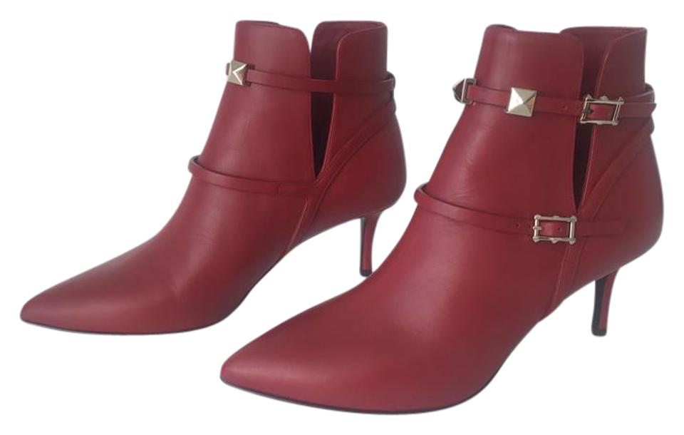 Valentino Red Classic Gold Rockstud Buckle Boots/Booties Point-toe Sz. 35.5 Euro Boots/Booties Buckle 8a670f