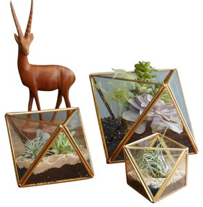 Faceted Terrariums Large Gold (set Of 4)