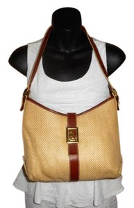 Ralph Lauren Straw Jute Leather Tote Shoulder Bag