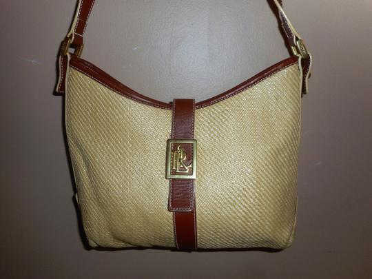 Ralph Lauren Straw Jute Leather Tote Shoulder Bag Image 2