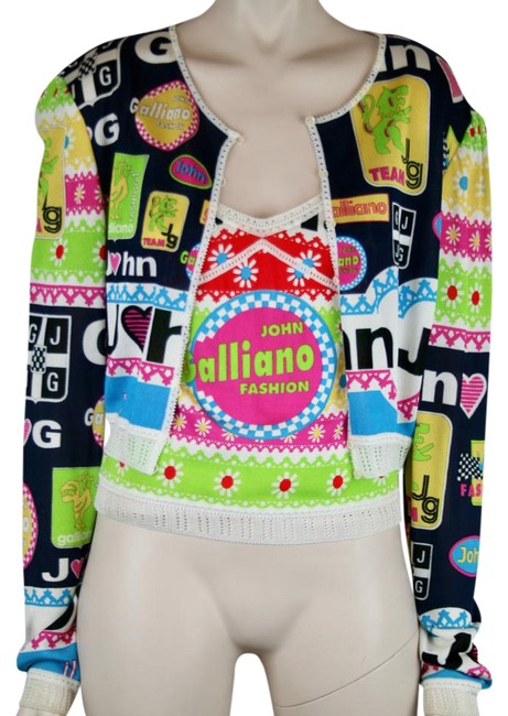 Item - Hot Pink Lime Green Turquoise Navy Blue White 2 Pc Cropped Camisole Multi Colour Rayon Knit Cardigan Size 12 (L)