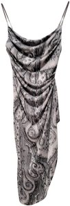 Grey paisley Maxi Dress by Kay Unger N Black Accentuates The Body High Slit At Side Sexy When Worn