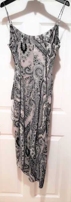 Grey paisley Maxi Dress by Kay Unger N Black Accentuates The Body High Slit At Side Sexy When Worn Image 1