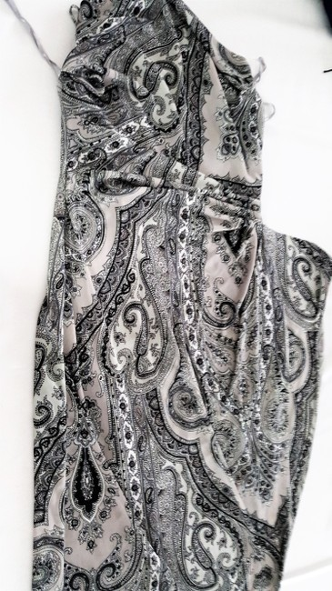 Grey paisley Maxi Dress by Kay Unger N Black Accentuates The Body High Slit At Side Sexy When Worn Image 2