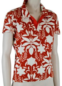 Prada Terrycloth Cotton V Neck Tropical Polo T Shirt ORANGE, WHITE