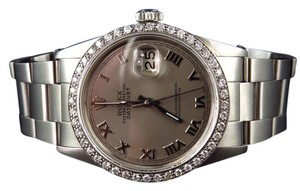 Rolex Mens 36 MM Datejust Oyster Stainless Steel White Diamond Watch 2.5 Ct