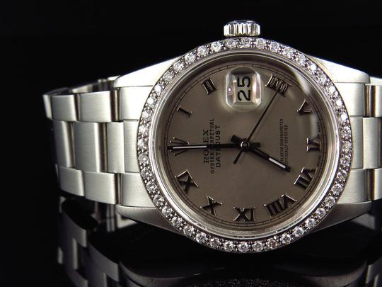Rolex Mens 36 MM Datejust Oyster Stainless Steel White Diamond Watch 2.5 Ct Image 10