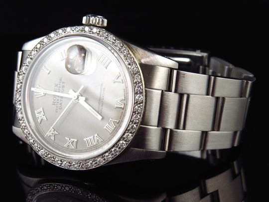 Rolex Mens 36 MM Datejust Oyster Stainless Steel White Diamond Watch 2.5 Ct Image 3