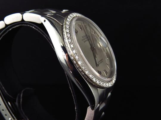 Rolex Mens 36 MM Datejust Oyster Stainless Steel White Diamond Watch 2.5 Ct Image 4