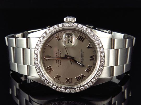 Rolex Mens 36 MM Datejust Oyster Stainless Steel White Diamond Watch 2.5 Ct Image 5