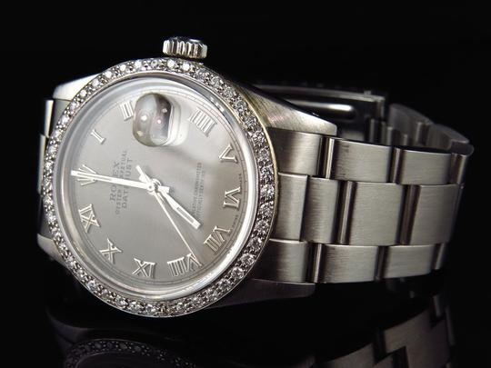 Rolex Mens 36 MM Datejust Oyster Stainless Steel White Diamond Watch 2.5 Ct Image 7