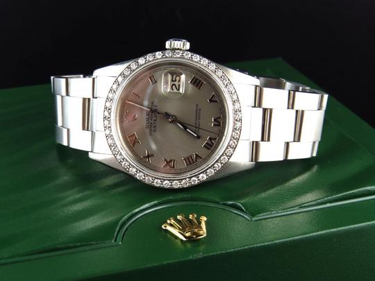 Rolex Mens 36 MM Datejust Oyster Stainless Steel White Diamond Watch 2.5 Ct Image 9