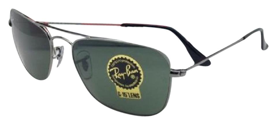 dc4718f8c7 Ray-Ban New Caravan Rb 3136 004 55-15 140 Gunmetal W G15 Green Lenses W G15  Sunglasses