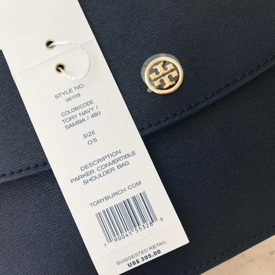 321ec5d252f Tory Burch Parker Convertible Royal Blue Samba Leather Shoulder Bag ...